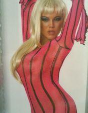 Sensual vestido sexy de tubo de red color rosa fuerte con mangas largas VES00084