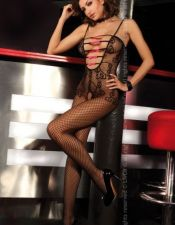Bodystocking de red para lenceria femenina muy escotado y pajaritas en fucsia BDS00044