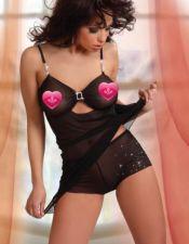 Babydoll con culotte con hebilla y detalles de strass en culotte y tirantes BAB00254