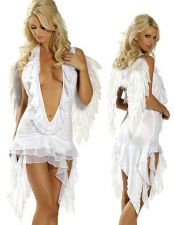 Atractivo disfraz sexy de Angel muy escotado y con picos y volantes en la falda DIS00035