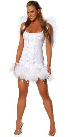 Sensual vestido de Angel de corte recto con lazo cruzado en la parte delantera y plumas en la falda