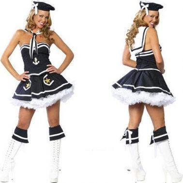 Disfraz sexy de marinera sexy compuesto de vestido con tutú con motivos marinos con gorro y capa