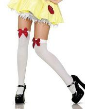 Medias sexys blancas por encima de las rodillas con lazos de colores MED00031