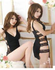 Vestido sexy liso de dos piezas unidas mediante tiras de encaje en los laterales VES00089