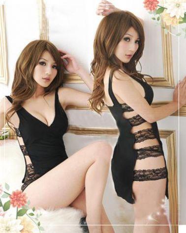 Vestido sexy liso de dos piezas unidas mediante tiras de encaje en los laterales