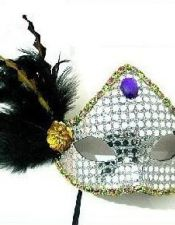 Mascara preformada plateada con apliques de colores, plumas y pasamanería ACC00014