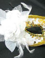 Mascara de fantasia con estampados y pasamaneria dorados ACC00015