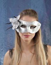 Mascara de fantasia preformada en plata con purpurina y flor gris ACC00018