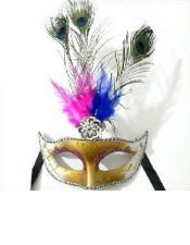 Mascara con purpurina y plumas de colores y de pavo real ACC00020