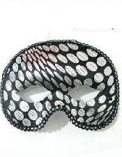 Mascara de fantasia de hombre con pasamaneria y lunares plateados ACC00023