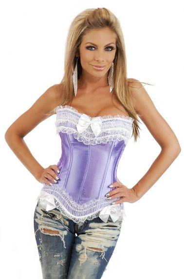 Corset sexy satinado en color lila con volantes y lazos blancos