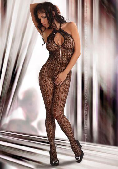 Sensual body sexy stocking de redecilla estampada con agujero en la entrepierna y el escote