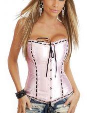 Corset sexy satinado rosa claro con entredos y puntilla blanca CYC00167