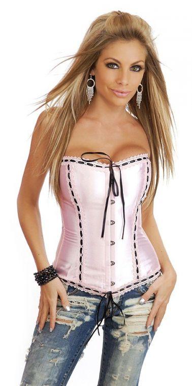 Corset sexy satinado rosa claro con entredos y puntilla blanca