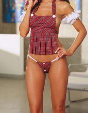 Disfraz sexy de colegiala sexy compuesto de peto con tirantes y tanga de textil escoces DIS00042