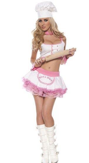 Disfraz sexy de Pastelera sexy de 4 piezas con falda con tutu rosa y cuello y puños en rosa