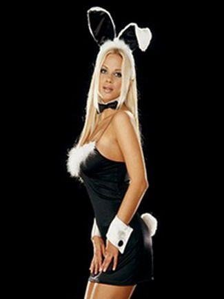 Disfraz sexy de Conejita Playboy que incluye vestido con plumas y pompon tanga pajarita diadema y pu