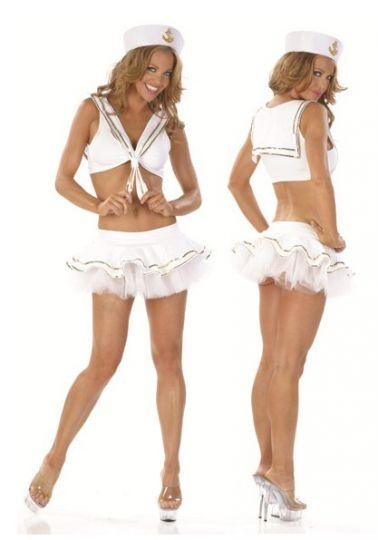 Disfraz sexy de marinera sexy de textil blanco con lentejuelas doradas con falda con tutú