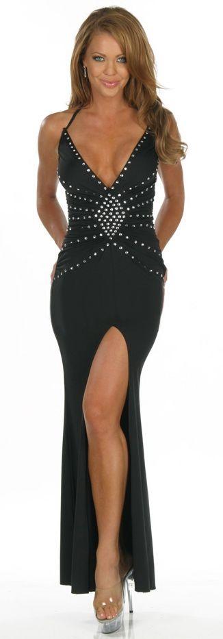 Vestido sexy largo escotado de tejido elastizado negro con tachuelas aplicadas en la parte delantera