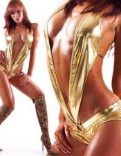Sensual body sexy de latex dorado con culotte  BOD00058