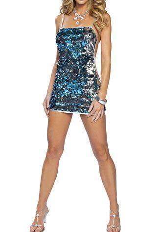 Sensual vestido sexy escote recto de microtul negro con lentejuelas
