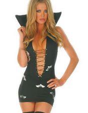 Disfraz sexy vestido de Vampiresa con murcielagos plateados y lazada en el escote DIS00050
