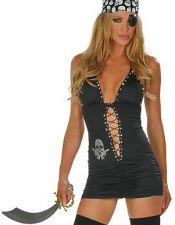 Disfraz sexy vestido de Pirata sexy con parche y pañuelo con calaberas DIS00051