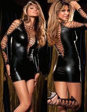 Vestido de latex negro con argollas con lazadas cruzadas PLC00029