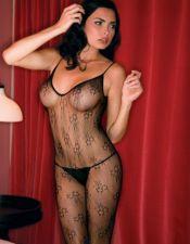 Body sexy stocking de redecilla con estampados florales y agujero en la entrepierna BDS00062