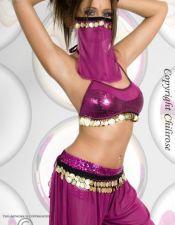 Disfraz sexy de bailarina de danza del vientre con monedas doradas DIS00054