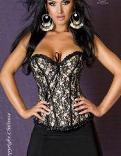 Elegante corse color champagne con encaje superpuesto y ribetes negros CYC00174