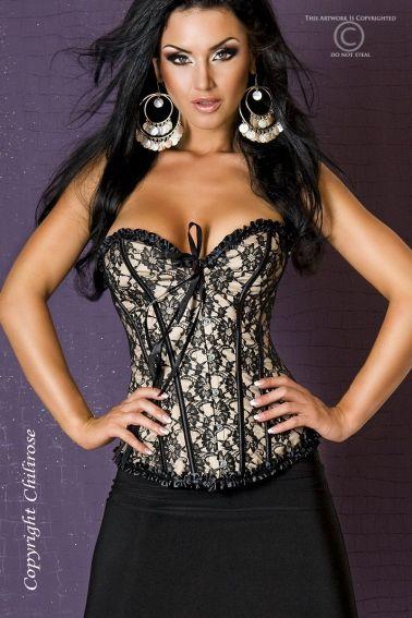 Elegante corse color champagne con encaje superpuesto y ribetes negros