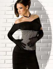 Corset sexy tipo fajín negro con rayas diplomáticas blancas CYC00175