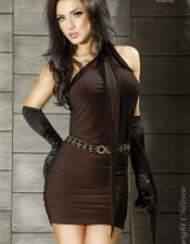 Vestido sexy drapeado multifuncion con largos tirantes VES00098