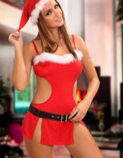 Disfraz sexy vestido de Santa Girl con plumas blancas en el escote y cinturon negro brillante DIS00055