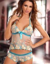 Conjunto sexy de top y culotte de color marfil con bordados CON00205