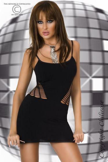 Vestido sexy de microfibra negra con trama agujereada en los laterales que traslucen la silueta