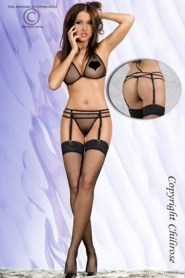 Conjunto sexy erotico de sujetador tanga y medias de red con portaligas y ligueros incluidos