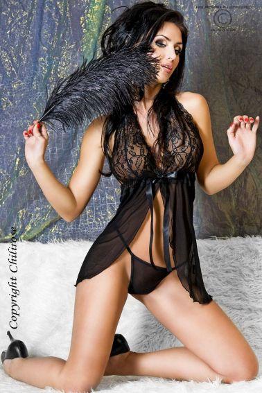 Picardias negro con sujetador de blonda y abierto por delante