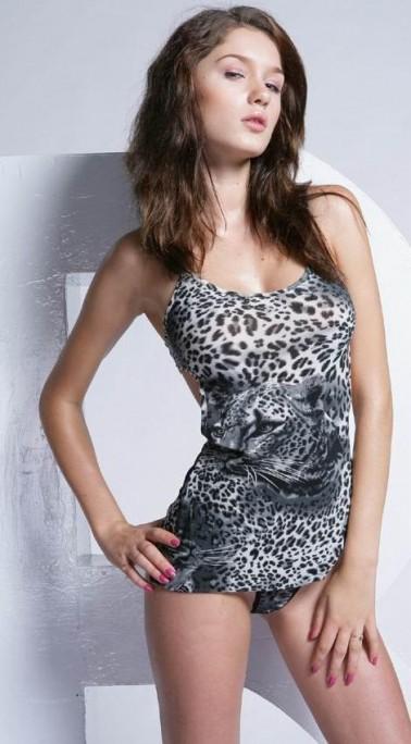 Babydoll sexy con estampado de leopardo