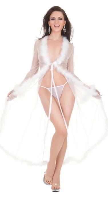Elegante bata sexy larga de mangas largas de microtul con plumas blancas