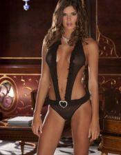 Sensual body sexy estilo Trikini de microtul negro con volantes fruncidos y corazon plateado brillan BOD00075