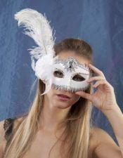 Mascara blanca con detalles plateados ACC00032