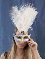 Mascara de Carnavales con purpurina multicolor y plumaje en el centro ACC00033