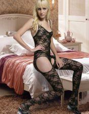 Body sexy stocking de encaje negro con tirantes y cartucheras al descubierto BDS00079