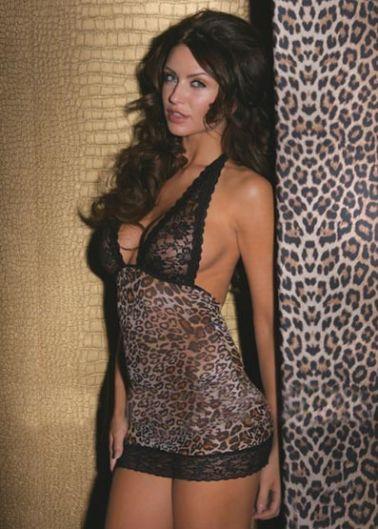 Babydoll de microtul con motivos de leopardo de tonos beige marron y negro con sujetador de encaje