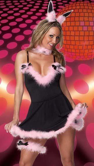 Disfraz sexy de GATITA SEXY compuesto de vestido negro con plumas rosas con diadema con orejas y lig