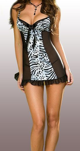 Sensual babydoll negro combinado en color beige y estampados de leopardo