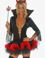 Vestido disfraz sexy de Diablesa sexy con escote con lazada cuello alto y plumas rojas en la falda DIS00059