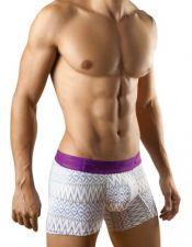 Boxer para hombre con estampados azules y negros y banda elastica en morado BOX00015